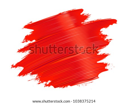Red brushstrokes background. Realistic paint texture. Vector illustration.