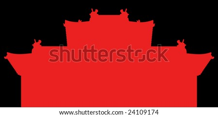 Red building on black background. Chinese style.