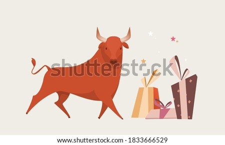 Red bull isolated illustration for greeting cards for the new year. Bull chinese symbol for new year 2021
