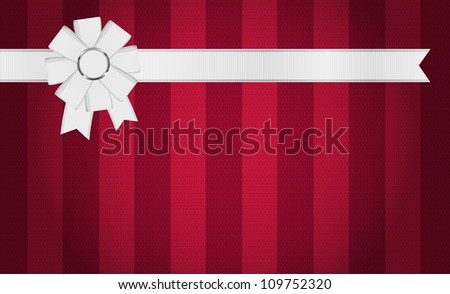 Red burgundy vector fabric textured striped background with white ribbon and bow knot decoration