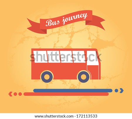 red bus on a yellow background with ribbon and arrow direction of the path
