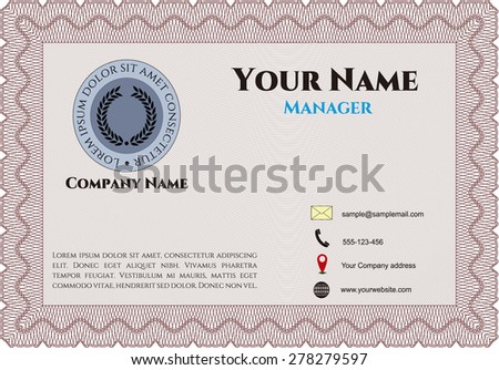 Red business card template (red color)