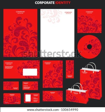 Red Business style templates with abstract pattern. Vector