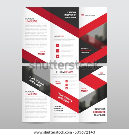 red business trifold leaflet brochure flyer report template vector