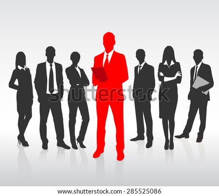 Red Businessman Silhouette, Black Business People Group Team Concept Vector Illustration
