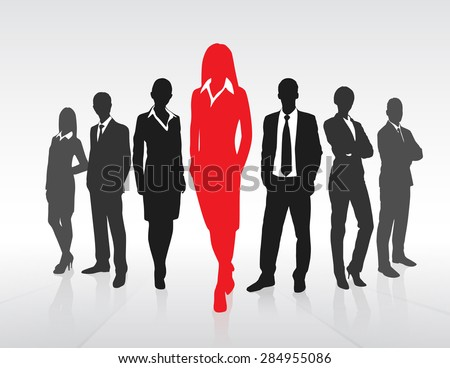 Red Businesswoman Silhouette, Black Business People Group Team Concept Vector Illustration