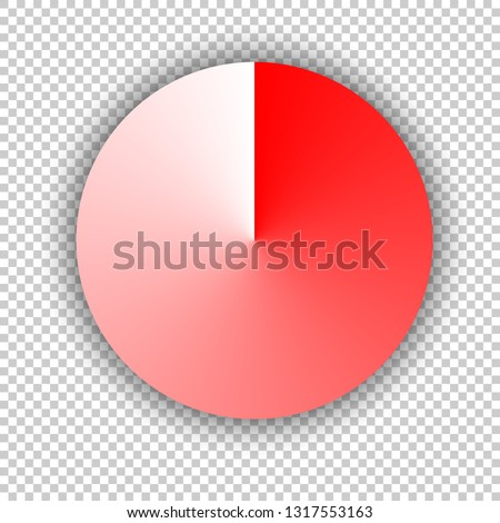 Red button. Angular circle or conical gradient. Realistic illustration isolated on transparent background.