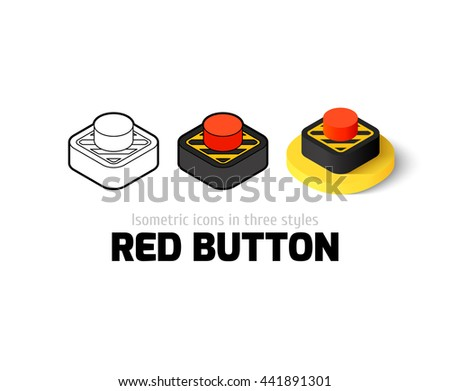 Red button icon, vector symbol in flat, outline and isometric style