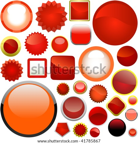 Red buttons for web. Vector set.
