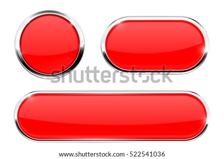 Red   buttons. Web elements with chrome frame. Vector illustration isolated on white background