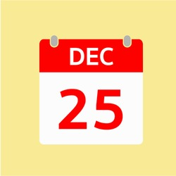 Red Calendar icon - Dec 25