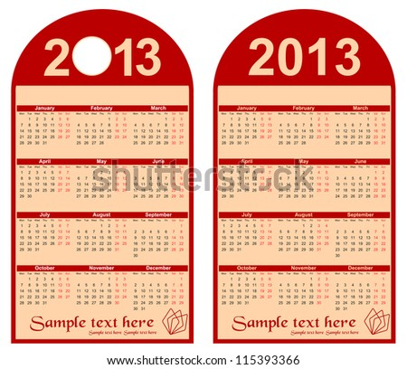 red calendar 2013 in the form of labels, vector