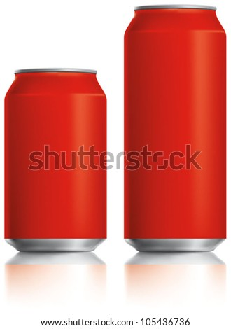 Red can vector visual 330 ml & 500 ml, ideal for cola, soft drinks, soda, fizzy pop, lager, alcohol, lemonade, energy drink, juice, etc. Drawn with mesh tool. Fully adjustable & scalable