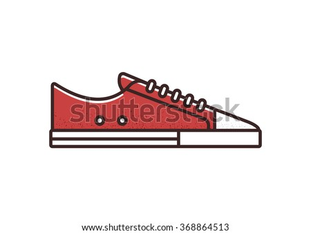 red canvas sneaker line icon