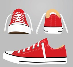 Red canvas snickers. vector illustration