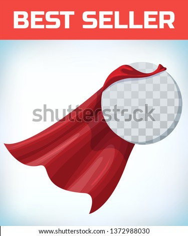 Red cape. Super hero cloak. Superhero cover. Cartoon carnival clothes. Female superhero. Woman heroine. Female power. Power sign. Leadership concept. Superhero icon. Business equality. Circle logo