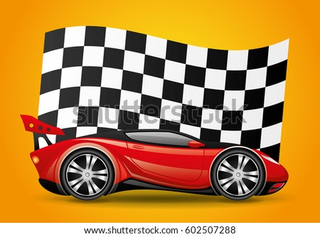 Red car and checkered flag.