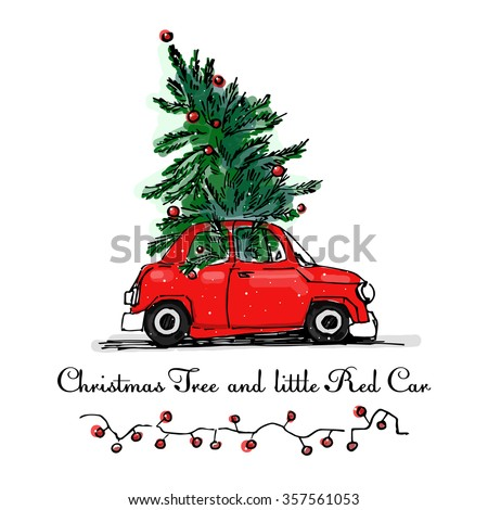 red car and christmas tree