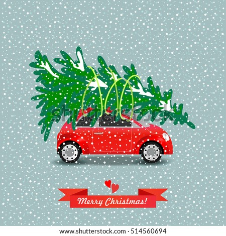 red car carries the christmas