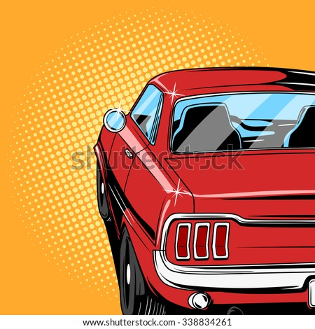 stock vector red car comic book retro pop art style vector illustration 338834261 - Каталог — Фотообои «Для детской»