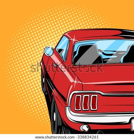 stock vector red car comic book retro pop art style vector illustration 338834261 - Каталог — Фотообои «Для детской»
