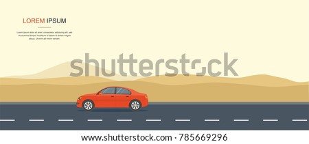 Red Car Driving on a Road in the desert Rental car and Auto leasing banner.