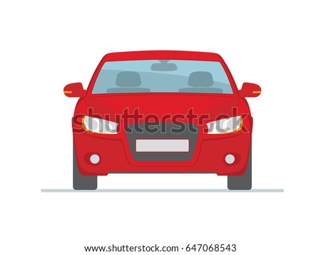 Red car isolated on white background. Front view. Vector illustration