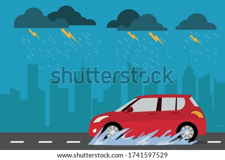 red car on the street in rainy day cityscape background. Drive safely in the rain season. vector illustration modern in flat design. side view. Transportation concept. Foto stock ©