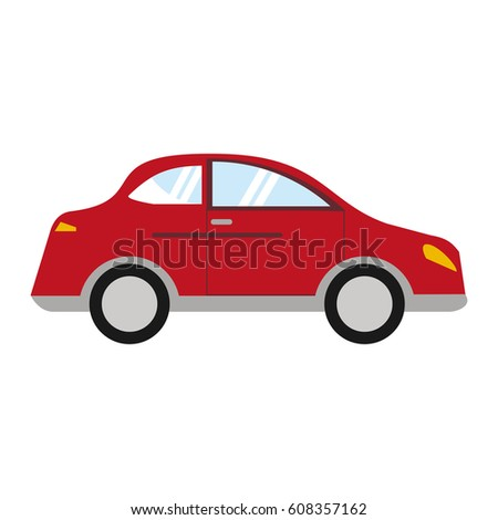 red car sedan vehicle transport