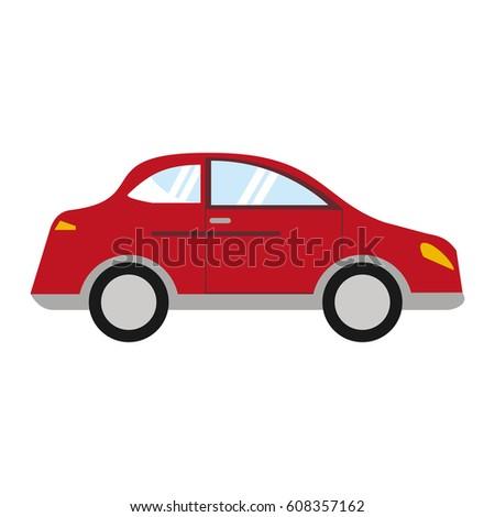 red car sedan vehicle transport