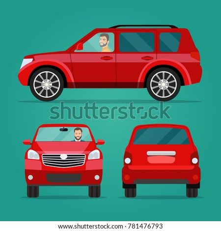 Red car two angle set. Car with driver man side view, back view  and front view. Vector flat illustration