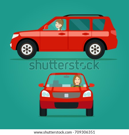 red car two angle set car with