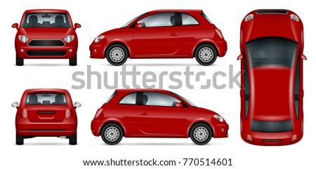 Red car vector mock-up for advertising, corporate identity. Isolated template of mini car on white background. Vehicle branding mockup. Easy to edit and recolor. View from side, front, back and top. #770514601