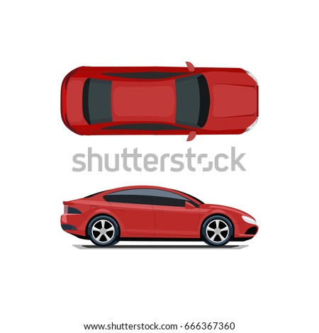 Red car. View from above and from the side. Volumetric drawing without a mesh and a gradient. Isolated on white background. Vector illustration.