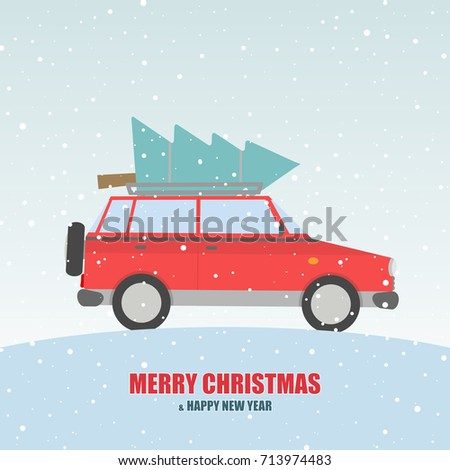 red car with a fir tree on the