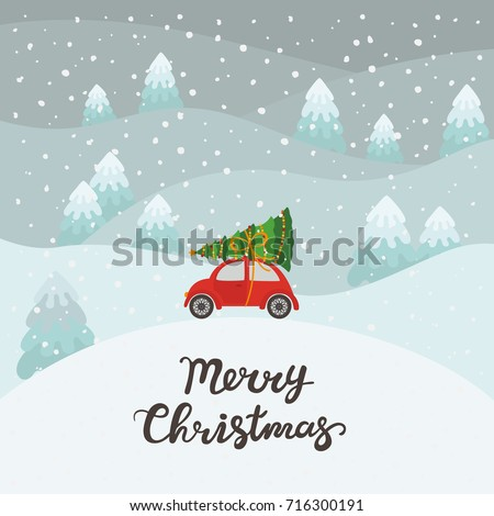 Red car with Christmas tree
