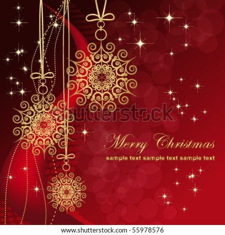 Red card with christmas snowflakes, vector illustration