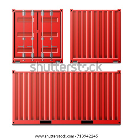 Red Cargo Container Vector. Classic Cargo Container. Freight Shipping Concept. Logistics, Transportation Mock Up. Front And Back Sides. Isolated On White Background Illustration