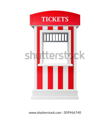 red carnival information ticket booth isolated on white background. realistic 3d vector illustration