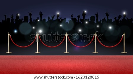 Red carpet and crowd of fans, paparazzi photographing a star on the red carpet Stock foto ©