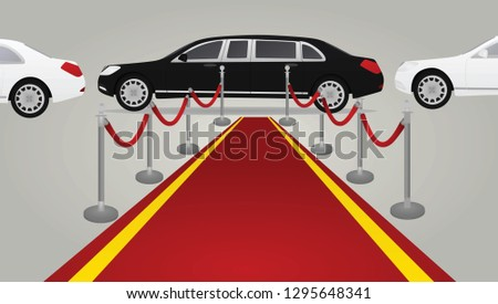 Red carpet and limo. vector illustration