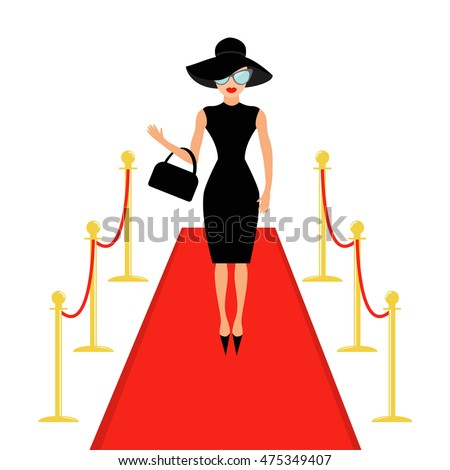 Red carpet and rope barrier golden stanchions turnstile Isolated Woman in black hat, bag and sunglasses waving. Rich beautiful celebrity girl Fashion model White background Flat design Vector