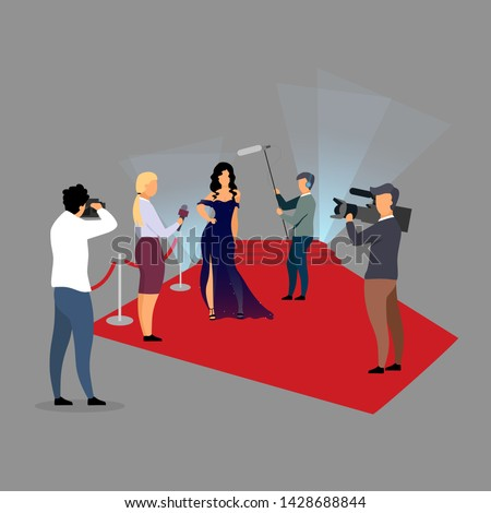 Red carpet ceremony reportage flat vector illustration. Journalists interviewing super star, celebrity cartoon characters. Reporters, paparazzi, photographers working at concert, festival concept