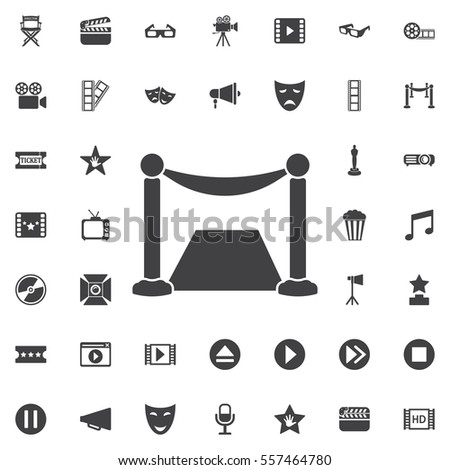 Red carpet icon on the white background. Set of cinema icons