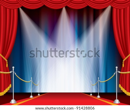 red carpet on opened stage with three spotlights