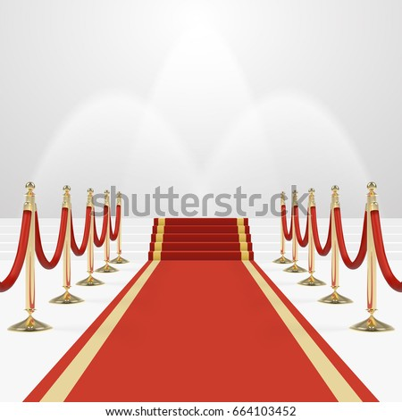 Red carpet on stairs. Empty white illuminated podium. Blank template illustration with space for an object, person, logo, text. Presentation, gala, ceremony, awards concept.