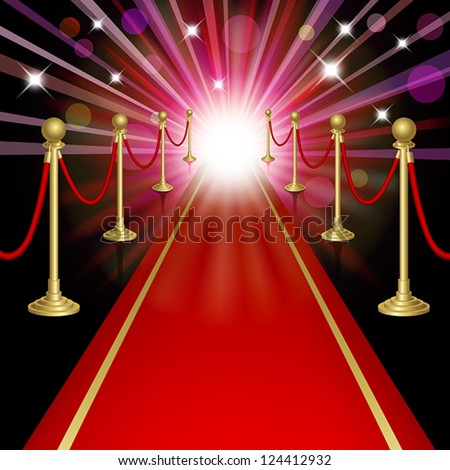 Red carpet with guard. Clipping Mask. Mesh.This file contains transparency.EPS10