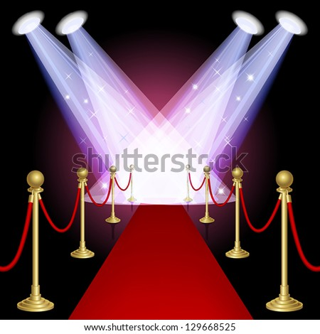 Red carpet with spotlight.Mesh.This file contains transparency.EPS10