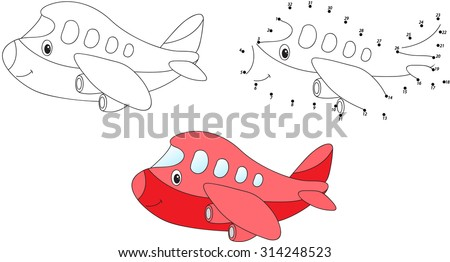 Red cartoon aircraft. Vector illustration. Coloring and dot to dot educational game for kids