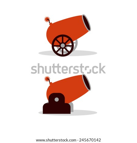red cartoon cannon with wheels